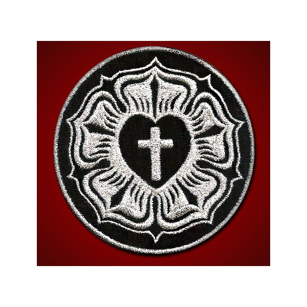 Cross Luther Rose Seal Lutheran Christian Silver Embroidered Patch