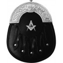 Masonic Crest Black Leather Dress Sporran