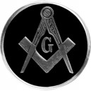 NICE RARE BLACK MASONIC METAL CAR AUTO BADGE EMBLEM