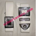 White PVC Piper Cross and waist Belt With Buckle