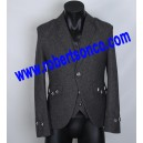 Charcoal Tweed Argyll Kilt Jacket with Five Button Waistcoat
