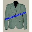 Lovat Green Tweed Argyll Kilt Jacket With 5 Button Vest Scottish Wedding Dress