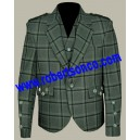 Traditional Style Lovat Green Tweed Argyll Kilt Jacket with Five Button Waistcoat