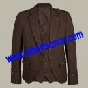 Dark Brown Tweed Argyll Kilt Jacket with 5 Button Waistcoat