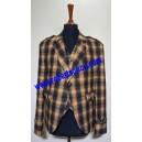 Yellow & Black Check Tweed Argyll Kilt Jacket with Five Button Waistcoat
