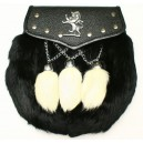 Rabbit Hair Sporran with chain belt leather strap
