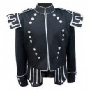 Black Traditional Scots Guards Style Doublet with Castellated Shoulder