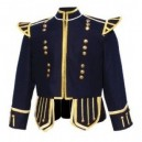 Dark Blue Pipe Band Doublet Gold Trim