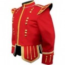 Red Pipe Band Doublet With Gold Braid Trim