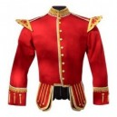 Red Pipe Band Doublet With Scrolling Gold Braid