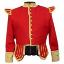 Red / Buff Pipe Band Doublet With Buff Collar