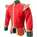 Red / Green Pipe Band Doublet With Green Collar