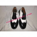 Patent Dress Ghillie Brogues With Black/White