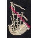 Bagpiper Hand Embroidery Badges With Silver Wire